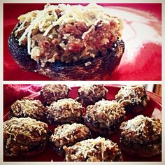 Large mushrooms stuffed and baked with spicy seasoned turkey sausage, Parmesan cheese, panko bread crumbs, diced mushrooms and white onion.