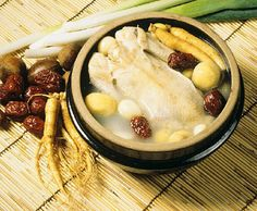 Ingredients: Small chicken (Cornish hen),  1/4 cup of sweet rice, a dozen cloves of garlic, green onions, a few jujubes, and 1 or 2 small ginseng roots. Ginseng Chicken Soup, Cornish Hens, Small Chicken, Green Onions, Poultry, Camembert Cheese, Garlic, Meat, Roots