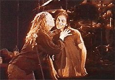 Eddie Vedder and one lucky fan - He looks adorably bashful!