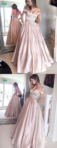 pearl pink prom dresses, off shoulder prom dresses, long prom dresses, prom dress with pockets, prom dress with beading