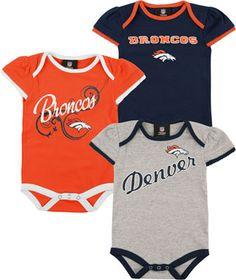 Denver Broncos Infant Girls Team Color 3 Piece Foldover Ruffled Sleeve  Creeper Set Football Gear a601912bc