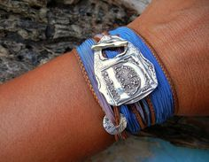 Monogram Jewelry, Silk Wrap Bracelet by HappyGoLicky, $49.50 Use 10% off coupon code : PIN10 ... #cool #silver #jewelry