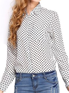 Women's OL Style Casual Plus Size Dot Decorated Blouse Two Colors on buytrends.com