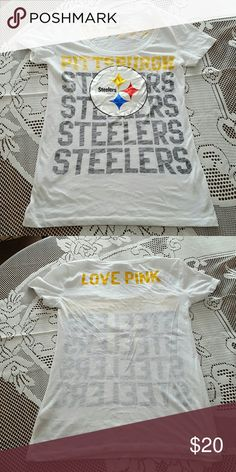 NWOT- Victorias Secret Steelers Shirt Never Worn- Tags removed. PERFECT condition. Victoria's Secret Tops Tees - Short Sleeve
