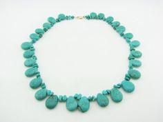 Turquoise Short Necklace Turquoise Choker Bead Necklace
