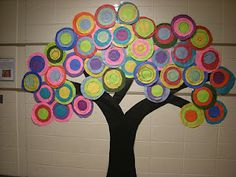 Wassily Kandisky Tree - hallway display. Each child could make one circle for the tree