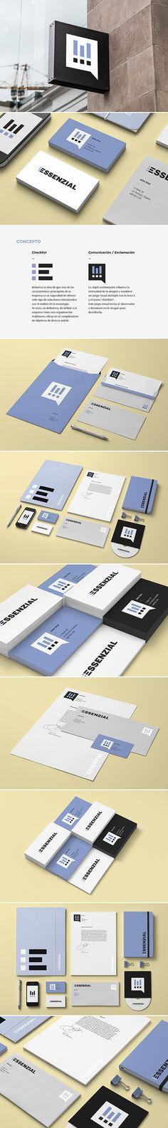 Desarrollo de identidad visual corporativa para Essenzial, una empresa dedicada a ofrecer soluciones informáticas y tecnológicas de diversa índole.