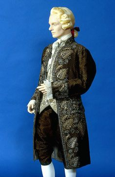 1785-1792, Europe - Man's court suit - Coat: velvet, gold yarns, gilt-silver wires, sequins, glass, silk, leather; Waistcoat: silk satin, silver, glass, silk, cotton; Breeches: velvet