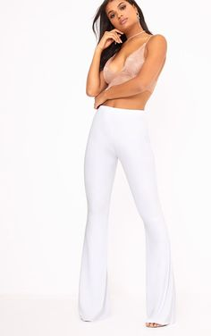 15f13e2703d418 White Slinky Flared Trousers White Flare Pants