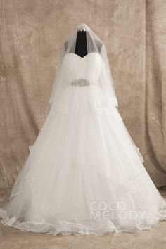 Classic A-line Sweetheart Natural Train Tulle Ivory Sleeveless Wedding Dress with Sashes and Draped B14E3057 #weddingdress #cocomelody
