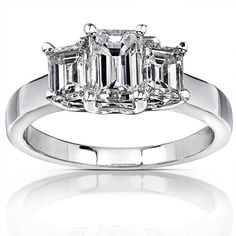 Click here for Ring Sizing Chart14k white gold three-stone engagement ring1 3/4ct emerald-cut diamonds