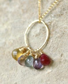 Gold family necklace FIVE birthstone necklace by ILoveHoneyWillow, $85.50