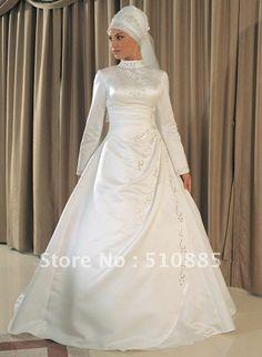 絶妙な素晴らしいデザイン長袖イスラム教のウェディングドレスアラビアty211花嫁の服
