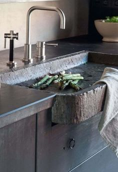 Rustic Modern Kitchen Features Modern Faucet And Hammered Stone Sink Over Black Cabinets : Natural Stone Kitchen Sink Rustic Kitchen Sinks, Kitchen Grey, Kitchen Ideas, Rustic Kitchens, Kitchen Decor, Stone Sink, Stone Kitchen Sink, Stone Bathroom, Modern Bathroom