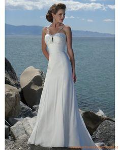 Neue Brautmode für Strandhochzeit aus Chiffon Verziertes Korsett und Rock mit Schleppe