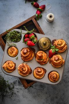 Strawberry, Thyme and Caramel Brioche Sticky Buns   #foodphotography