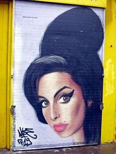 Amy Winehouse street art on Brick Lane, East London