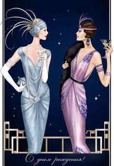 Дамы ретро art deco cards, art deco illustration и art deco fashion. Mode Vintage, Vintage Art, Vintage Ladies, Art Deco Illustration, Girl Illustrations, Anos 20s, Art Deco Fashion, Vintage Fashion, Fantasy Magic