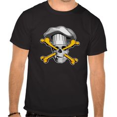 Impaled Chef Skull v2 Shirt. Black and white skull wearing puffy chef hat, impaled by orange yellow crossbones entering through its eye sockets and exiting out the mouth.