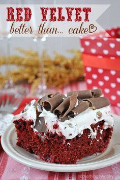 Better Than Valentine's Day… Red Velvet Poke Cake  Ingredients    9x13 Red Velvet Cake, baked and cooled  1 - 14.5 oz can sweetened condensed milk  1 cup International Delight Cinnabon creamer, divided  1 - 10.6 oz tub Vanilla Cool Whip Frosting  1 - 8 oz Cool Whip  Optional toppings: chocolate shavings and chopped pecans