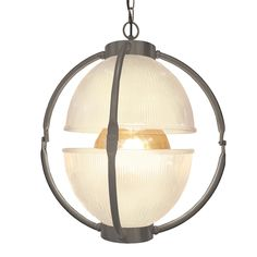 Bespoke Traditional Pewter Glass Orb Pendant Light Fitting, two open glass dome shades in either Prismatic Ribbed Glass or Frosted Glass.  Pewter metalwork can be combined with any Colour/Length Flex.