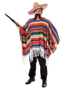 Mexican Poncho. Packaged (Adult Costume) - Male - One Size