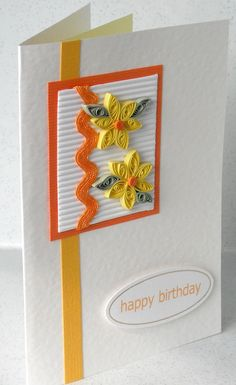 card quilled, quilling daisies, orange and lemon, handmade greeting.  via Etsy.