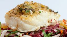 Sea Bass with Raisin Butter and Radicchio Slaw Chef Recipes, Fish Recipes, Great Recipes, Sea Bass, Fish And Seafood, The Dish, 4 Ingredients, Raisin, Breakfast Recipes
