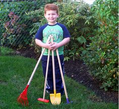 Kids Garden Tool Set - Heres a sturdy 4-piece tool set for Kids thatll get them growing food for the table. Digging spade and rake for preparing their own little garden plot - and a leaf rake and broom for tidying up.