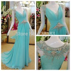Luxurious Spring Fashion Sexy Crystals Long Beads Woman Girl Plus Size New Arrival Free Shipping Prom Dresses 2014 A-line dress