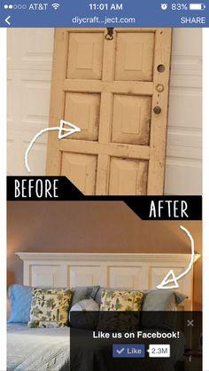 Em's headboard? Old farmhouse door from attic