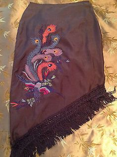 HENNA Bohemian Embroidered Peacock Gypsy Fringe Imported Skirt Size 3 EUC