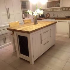 Freestanding Kitchen Island bespoke, solid wood kitchen island unit with oak top from the
