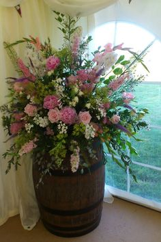 Wedding venue flowers - country chic