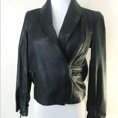 Alice + Olivia Leather Jacket! Black leather three quarter sleeve jacket! Brand new, never worn! Amazing feel and quality! Alice + Olivia Jackets & Coats