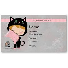 #Cute #Cat #Business #Card  This is an adorable gray, pink and black cat business card or calling card. There is plenty of room to add all your info on front and back. This was would be a cute card for cat lovers, or cat rescue groups, vets! Kawaii Art, Bella Katella, Cute Animal Business Cards, Cute Calling Cards   $19.10 per pack of 100