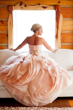 Pink blush wedding gowns are becoming quite popular a lovely alternative to traditional white or ivory. Not only do I love the colors in this wedding, but I love the rustic simplicity. Pink Blush Wedding Gowns, Bridal Gowns, Wedding Dresses, Blush Pink, Big Dresses, Blush Gown, Pink Silk, Formal Dresses, Do It Yourself Wedding