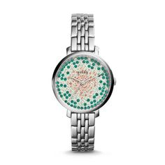 Jacqueline Three-Hand Stainless Steel Watch A colorful crystal vision of pretty pavé stones adds just the right amount of glitz and glam to our most gift-worthy Jacqueline. Styled in steel, this artful three-hand is inspired by the (tom)girl with a certain charm.