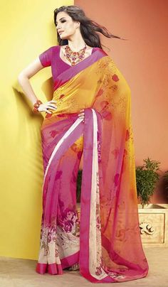 G3Fashions Magenta Yellow Georgette jacquard Printed Party Wear Saree.  Product Code : G3-LS11088 Price : INR RS 1224