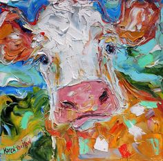Original oil painting Happy Cow 12x12 abstract by Karensfineart