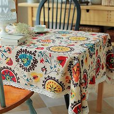 Bringsine Vintage Square Cotton Linen Lace Sun Flower Tablecloth, Washable Tablecloth Dinner Picnic Table Cloth Home Decoration Assorted Size *** Check this awesome image : Kitchen Table Linens Linen Tablecloth, Table Linens, Tablecloth Ideas, Dinner Party Table, Picnic Table, Dinner Parties, Desk Cover, Lace Table, Restaurant Interior Design
