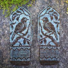 Ravelry: Songbird Mittens pattern by Erica Heusser Knitted Mittens Pattern, Knit Mittens, Knitted Gloves, Knitting Patterns, Crochet Patterns, Knitted Owl, Cast On Knitting, Fair Isle Knitting, Hand Knitting