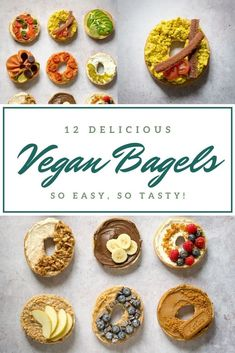 These delicious vegan bagels are easy but packed with flavour. Twelve tasty toppings - both savoury and sweet. #Vegan #TheVegSpace Vegan Comfort Food, Vegan Food, Vegan Recipes, Vegan Bagel, Bagel Toppings, Vegan Picnic, Picnic Ideas, Spring Recipes, Bagels