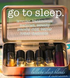 Jill's Sleepy Time Blend:        16 drops of lavender      16 drops of marjoram      30 drops of fractioned coconut oil      Mix them into a 10ml roller bottle then apply to temples, chest, and behind ears before bedtime.  This is also a wonderful blend to diffuse in any bedroom at night.  Relax and enjoy a peaceful nights rest.