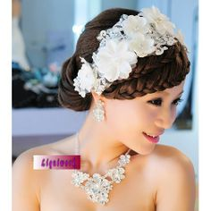 White Lace Pearl Flower Wedding Bridal Hair Jewelry Headpieces SKU-10806487