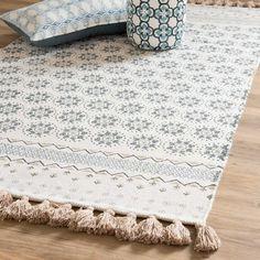 Fransenteppich aus weißer Baumwolle mit blauen Motiven 90x150cm TOULON