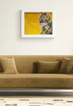 Beautiful Tortoiseshell Cat Painting in white frame for a modern home, painted by cat lover Caroline Skinner Art in her UK studio. Click for more details. #catlover #catpainting #catart Cat Lover Gifts, Cat Gifts, Cat Lovers, Colorful Paintings, Animal Paintings, Farm Animals, Animals And Pets, Tortoiseshell Cat, Artwork Online
