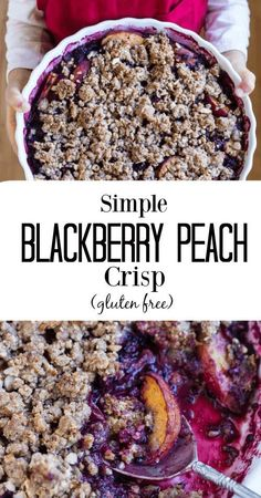 A simple blackberry peach crisp with a warm juicy filling topped with a crunchy crumble that is a snap to throw together. Just a few easy ingredients. The post Simple Blackberry Peach Crisp appeared first on Orchid Dessert. Paleo Recipes, Whole Food Recipes, Cooking Recipes, Cooking 101, Free Recipes, Paleo Dessert, Gluten Free Desserts, Dessert Recipes, Diet Desserts