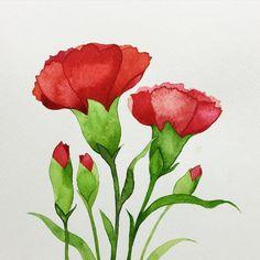 Watercolor Beginner, Watercolor Paintings For Beginners, Watercolor Projects, Watercolor Plants, Watercolor Cards, Watercolor Landscape, Watercolor Illustration, Floral Watercolor, Carnation Drawing