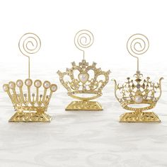 Set of 3 Gold Filigree Crown Cardholders - Give yourself the Royal Treatment!
